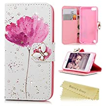 ipod 5 Case,ipod 6 Case,ipod Touch 5th/6th Generation Case - Mavis's Diary 3D Handmade Wallet PU Leather with Bling Sparkly Diamond Elegant Pink Flower Butterfly Magnetic Clip Card Holders