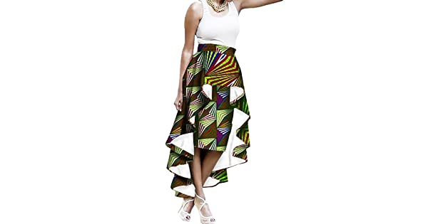 43924a312ad4f1 Liyuandian Womens African Print High Waisted Skirts Dashiki High Low  Asymmetrical Long Maxi Skirt