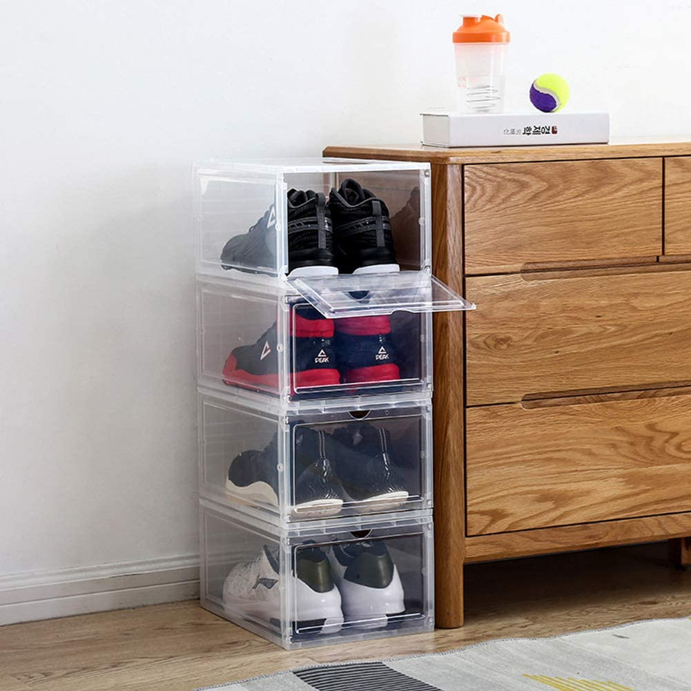 Rocita Stackable Shoe Box Storage Organizer 3PCS Upgraded Thick Version Shoe Boxes with Clear Acrylic Door for Sneakers Transparent Plastic Large Size Shoe Display Box