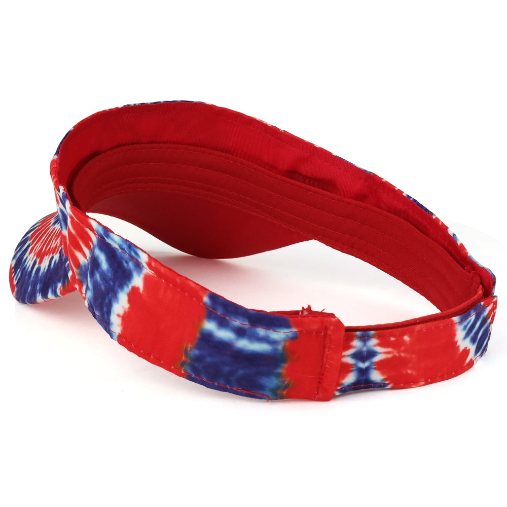Trendy Apparel Shop Hippy Tie Dye Printed Colorful Cool Summer Visor Cap - Red Royal by Trendy Apparel Shop (Image #3)