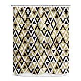 Graphic Geometric Diamonds Patterned, Top Shower Curtain, All Over Earthy Geo Triangle Themed, Premium Modern Home Kids Bathroom Decoration, Classic Stylish Artwork Design, Tan, Black, Size 70 x 72