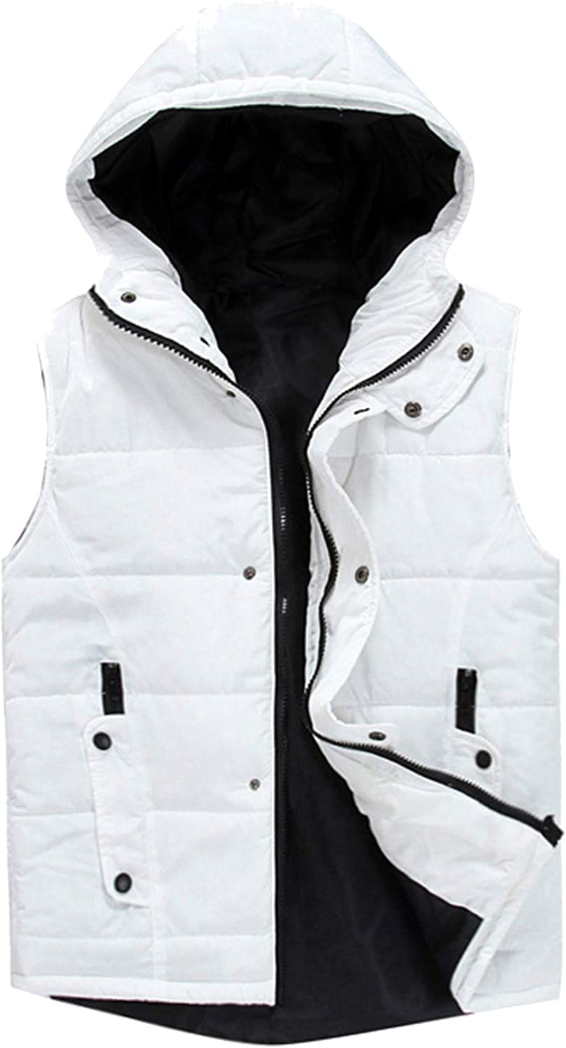 swimstore Colete Masculino Casual Slim Men Vest Hooded Winter Warm Soft Vest Solid Color Vest