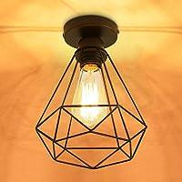 SENQIU Lámpara de Techo Vintage, Retro de Plafón Industrial Zócalo de Jaula de Hierro…