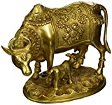 StatueStudio Brass hindu sacred holy cow and calf religious pair statue idol pooja figure 8''