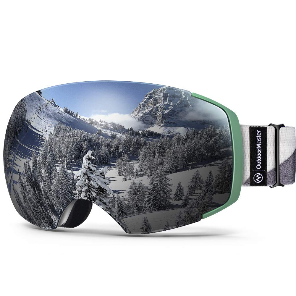 OutdoorMaster Ski Goggles PRO - Frameless, Interchangeable Lens 100% UV400 Protection Snow Goggles for Men & Women (Camo Frame VLT 10% Grey Lens and Free Protective Case) by OutdoorMaster