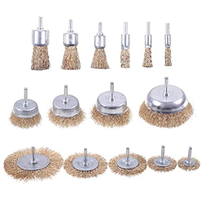 Mixiflor 15 Pack Brass Coated Wire Brush Wheel & Cup Brush Set with 1/4-Inch Round Shank, Coated Wire Drill Brush Set Perfect For Removal of Rust/Corrosion/Paint [5Bkhe1307807]