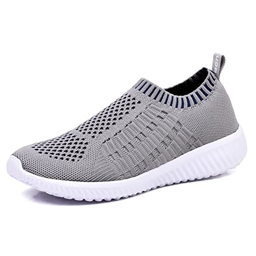 TIOSEBON Women's Athletic Shoes Casual Mesh Walking Sneakers - Breathable Running Shoes 9 US Gray