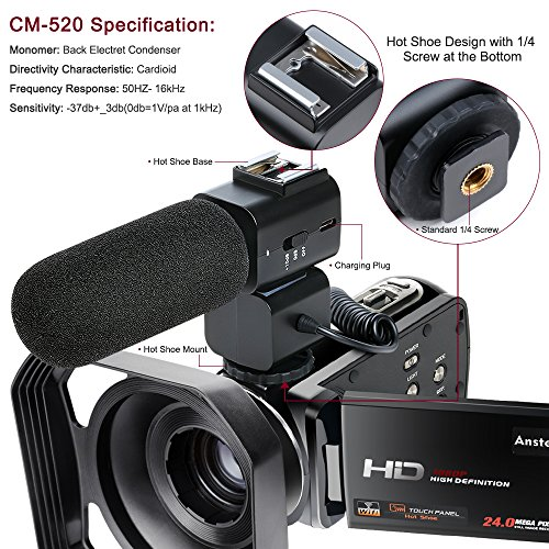 Video Camcorder,Ansteker Remote Control WiFi Video Camera