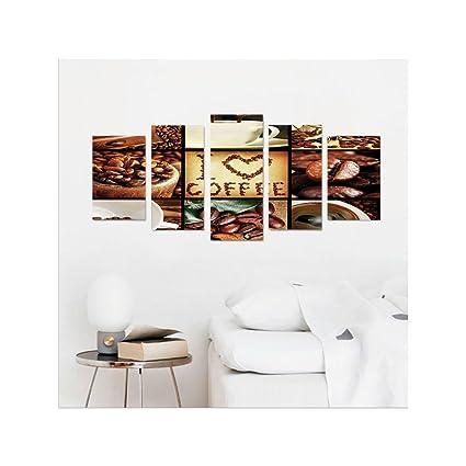 liguo88 Custom Lienzo marrón I Love café tema collage tostado Granos de café máquinas y tazas