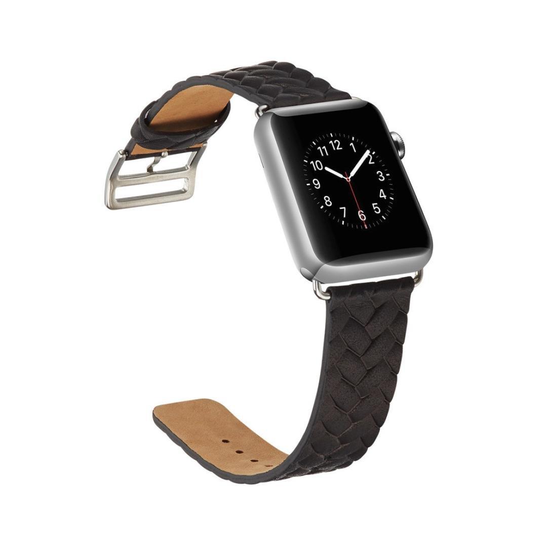 海山Leather Watch Band for Apple Watch 38 mm / 42 mm 42MM ブラック ブラック 42MM B079Z7S7L1