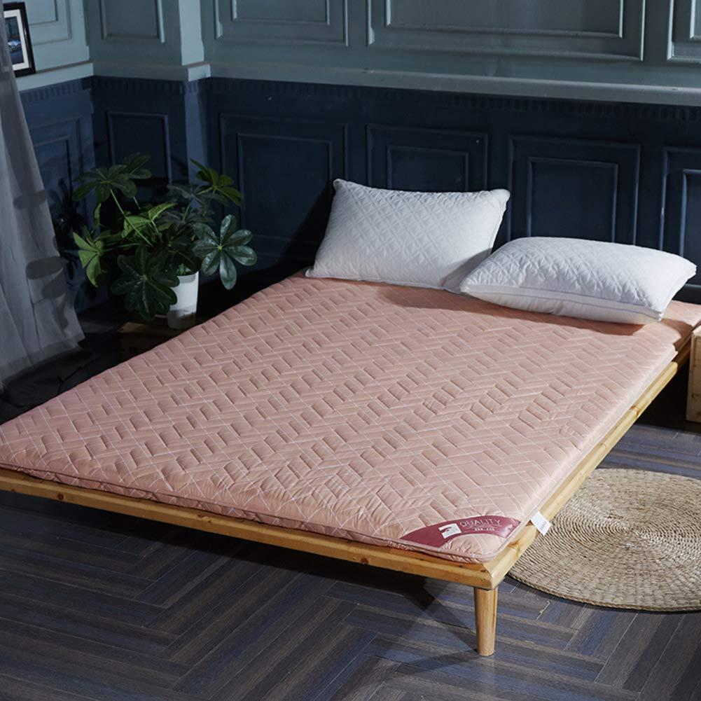 厚め ベッドパッド, 折りたたみ 和風 床 布団 マットマット 学生 寮 ダブル 1 マットレスをロールアップします。-c B07S8BCHRZ