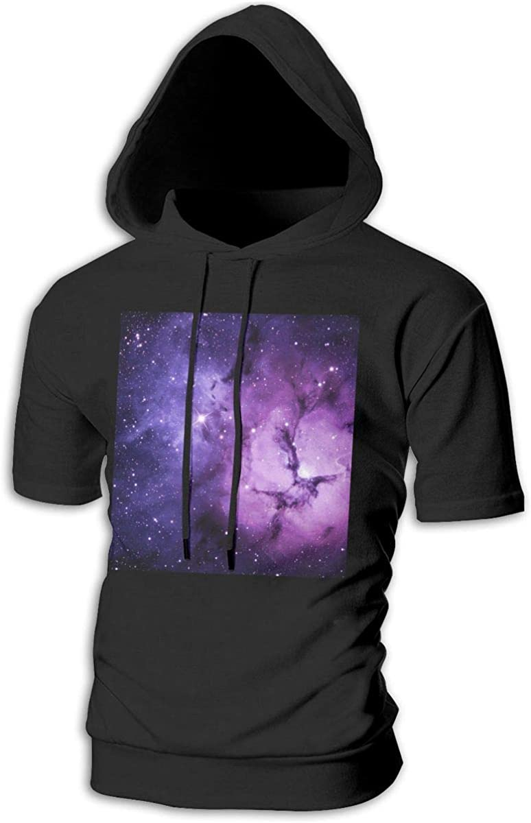 LXTERRRR Galaxy Space Hoodies Mens Short Sleeve Slim Fit Pullover Hip Hop Lightweight