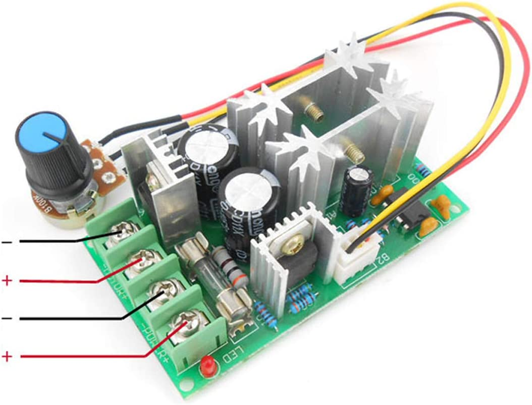 qianzhi Einstellbarer Volt Gleichstrommotor Drehzahlregler 36V 12V 24V 48V 1200W PWM Vorw/ärts//R/ückw/ärts Umkehrschalter