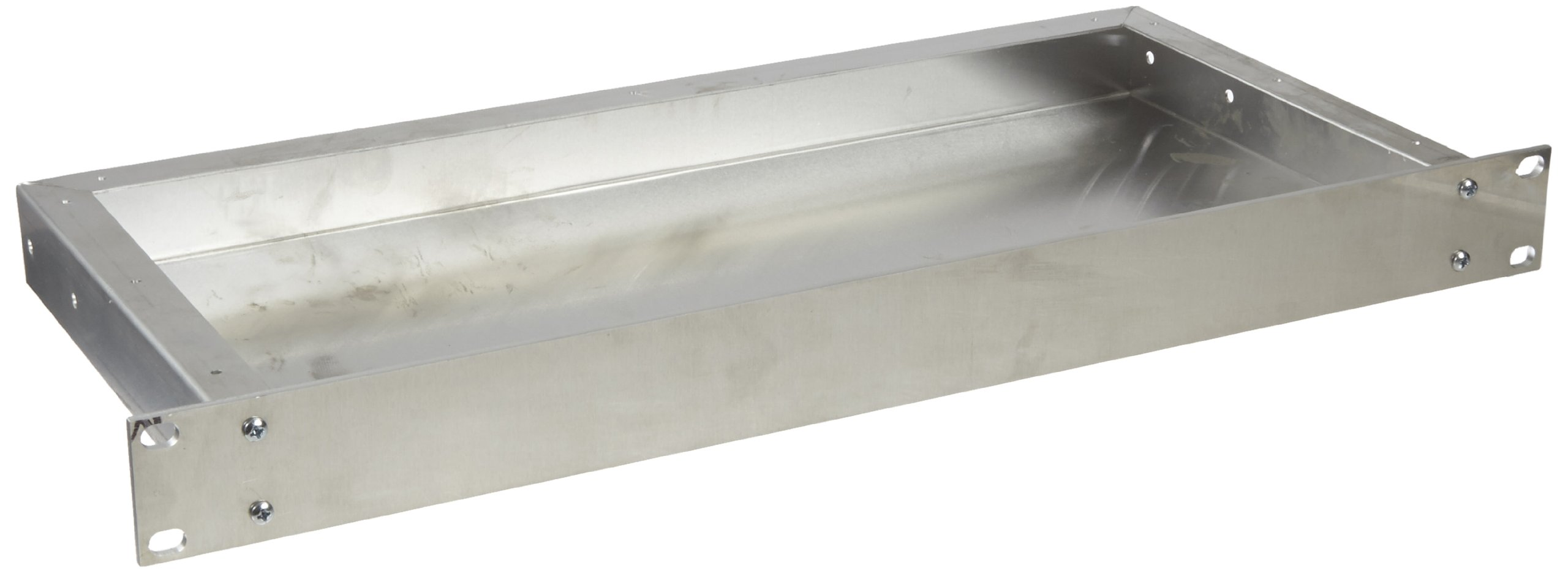 BUD Industries CH-14401 Aluminum Small Rack Mount Chassis, 17'' Width x 1-3/4'' Height x 8'' Depth, Natural Finish
