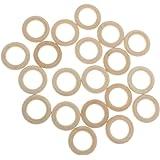 MagiDeal Pack of 20 3.5cm Natural Wood Loop Ring Wood Material for DIY Jewelry Findings