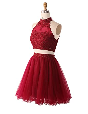 Stillluxury Two Piece Homecoming Dresses Juniors Short Women Tulle Appliques Beaded Prom Gowns Red Size 6