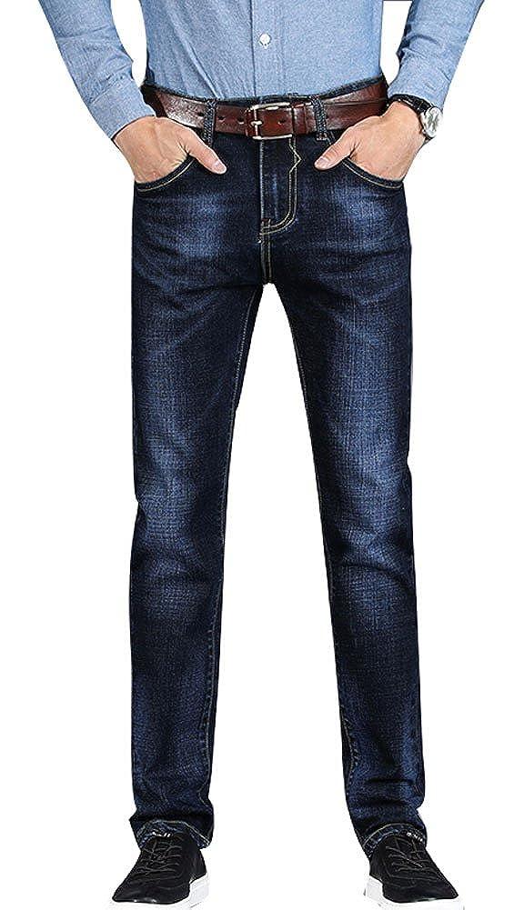 Plaid& Plain Men's Casual 5 Pocket Slim Fit Straight Leg Stylish Stretch Jeans 13-PANTS-M130955