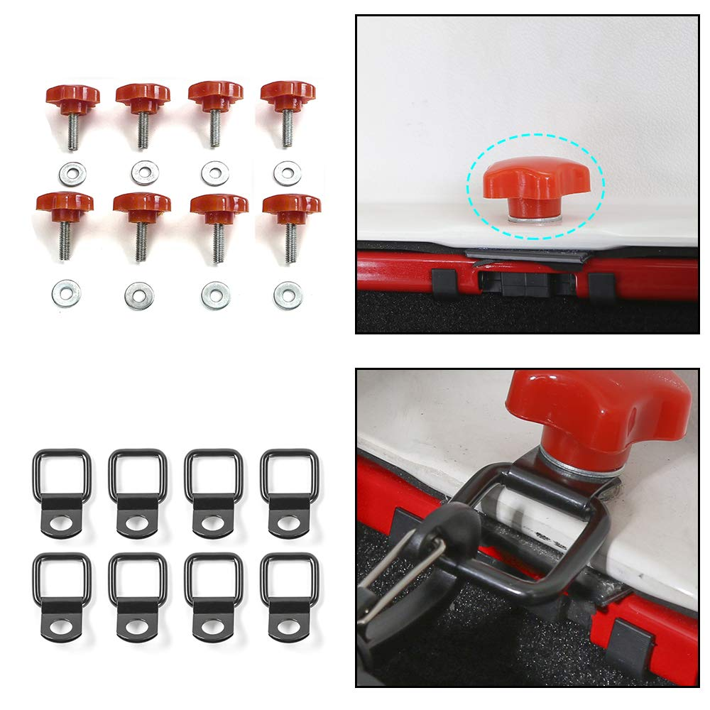 Red 8Pcs Hardtop Quick Removal Bolts Thumb Screws /& 8Pcs D Ring Tie Down Anchors for Jeep Wrangler YJ TJ JK JKU JL JLU 1995-2018