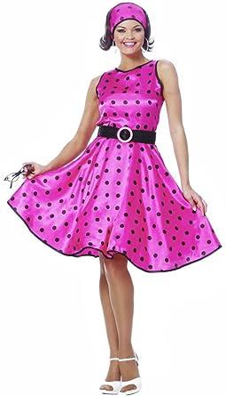 50s polka dot dress pink adult halloween costume size 8 10 medium