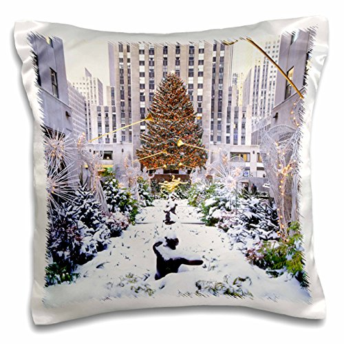 3dRose pc_191720_1 Christmas Tree, Rockefeller Center, Manhattan, New York, Use Pillow Case, 16 x 16