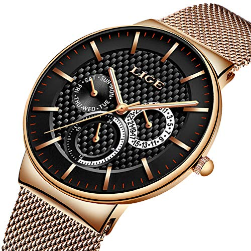 (LIGE Watch Men Fashion Waterproof Satinless Steel Business Men Watch Analog Quartz Wristwatch Luxury Brand LIGE Watch Gold Black Dress Calendar Clock Mesh Band)