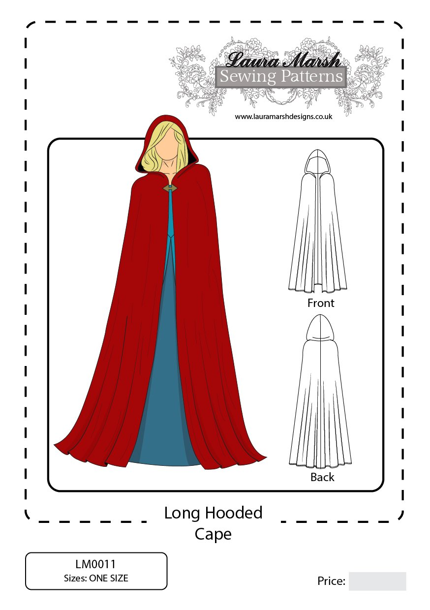 Long hooded cape sewing pattern one size lm0011 laura marsh long hooded cape sewing pattern one size lm0011 laura marsh designs amazon kitchen home jeuxipadfo Choice Image