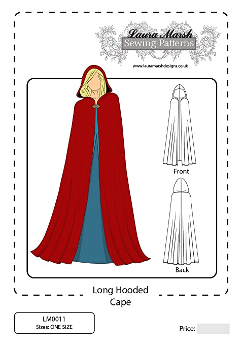 Long Hooded Cape Sewing Pattern, One Size, LM0011, Laura Marsh ...