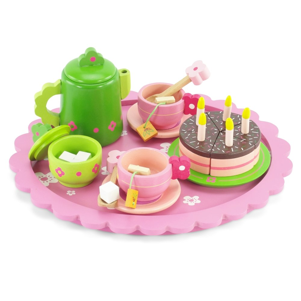 18 Inch Doll Wooden Tea Set (28 Pieces) for Little Girls | Cake Play Dessert Food Set | Fits American Girl Dolls Emily Rose Doll Clothes