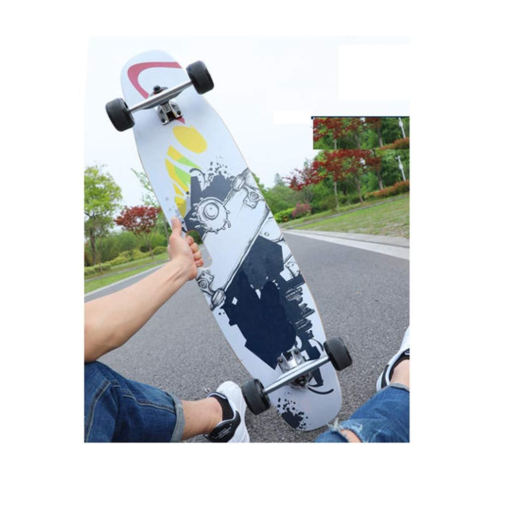YYFRB スケートボードロングボード大人用ブラシストリート初心者用ポータブル四輪ダブルダンスボード100×23cm スケートボード (Color : A) A