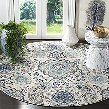 Safavieh Madison Collection MAD600C Cream and Light Grey Bohemian Chic Paisley Round Area Rug (5 in Diameter)