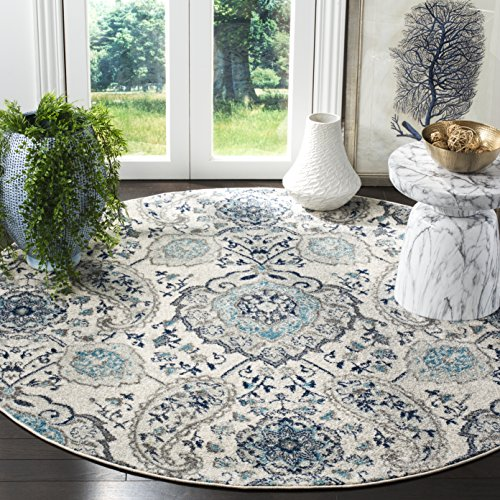 Safavieh Madison Collection MAD600C Cream and Light Grey Bohemian Chic Paisley Round Area Rug (6'7