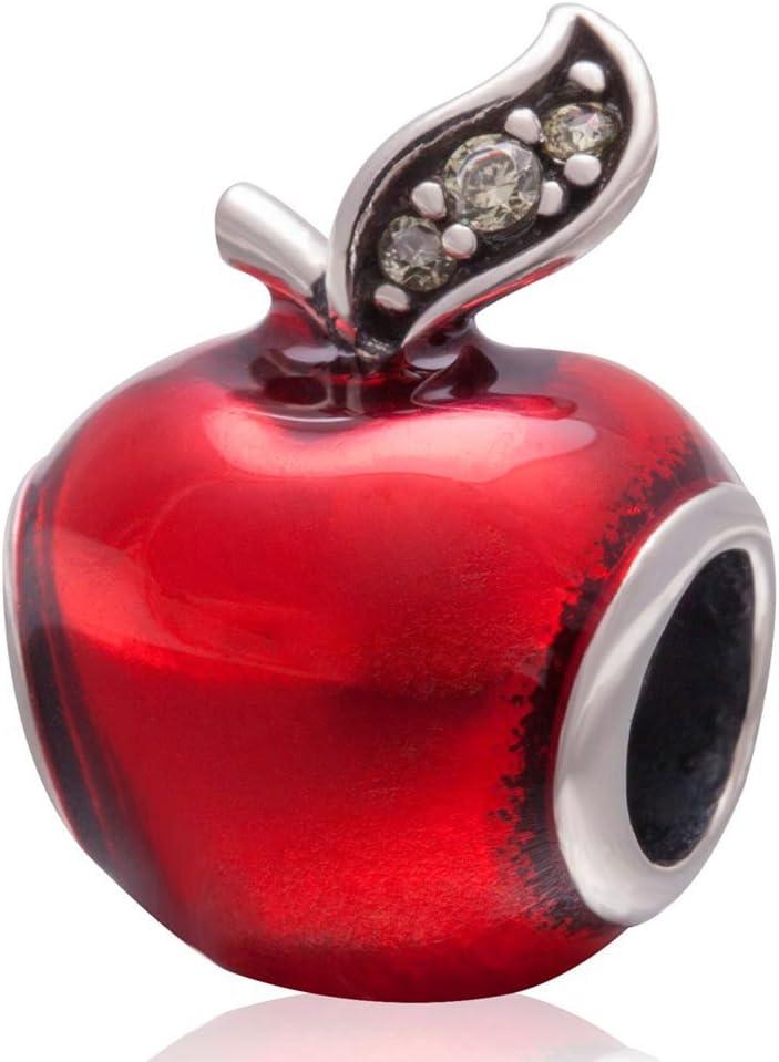 Apple Charm Red Enamel Charm 925 Sterling Silver Lucky Fruit Charm Christmas Charm for Pandora Bracelet