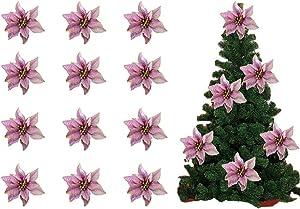 BADIQI Christmas Tree FlowersPoinsettia Artificial,Glitter Christmas Tree Ornaments Xmas Wedding Party Decor Silk Flower (purple-12)