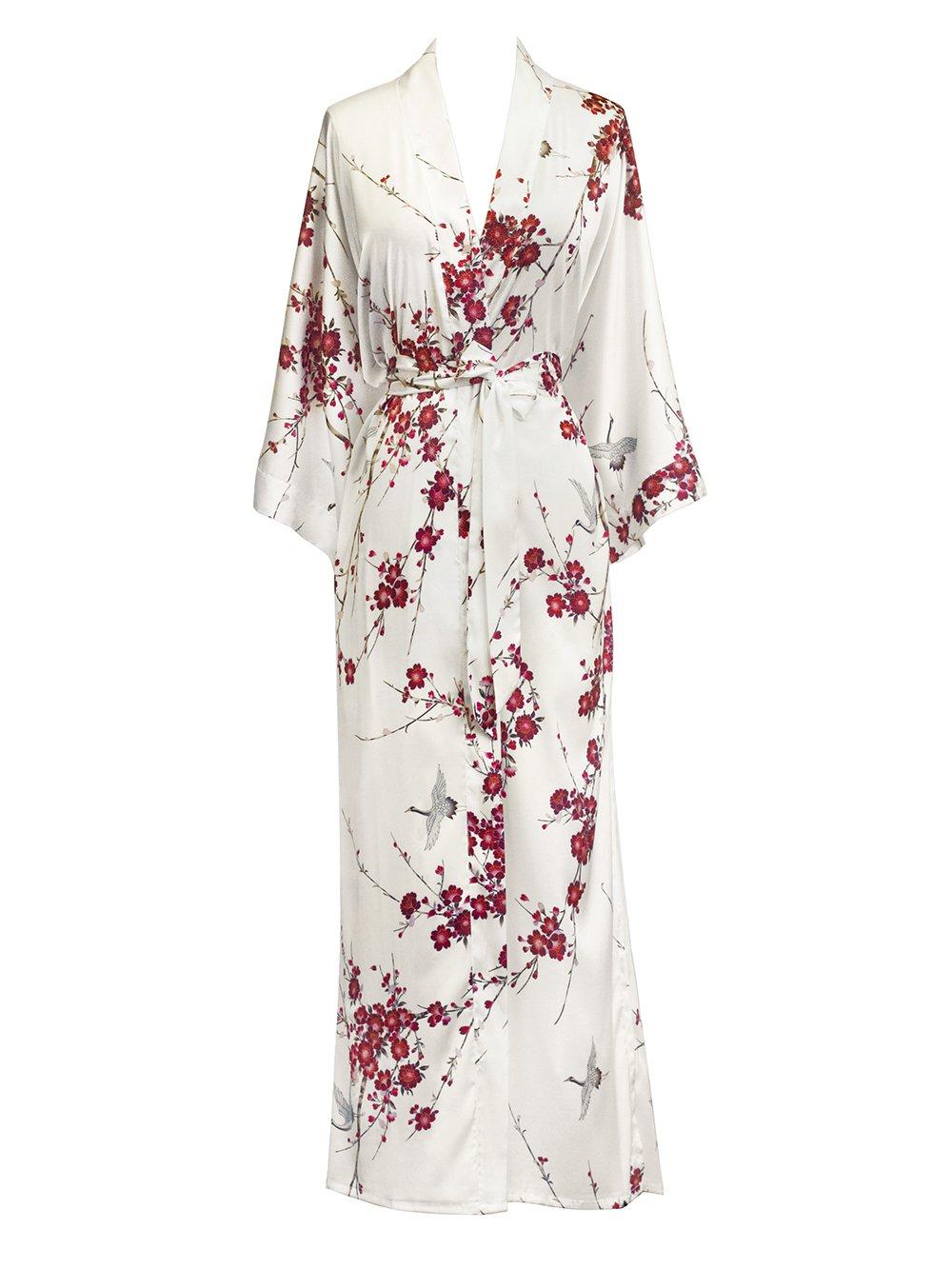 Old Shanghai Women's Kimono Robe Long - Watercolor Floral, Cherry Blossom & Crane- White