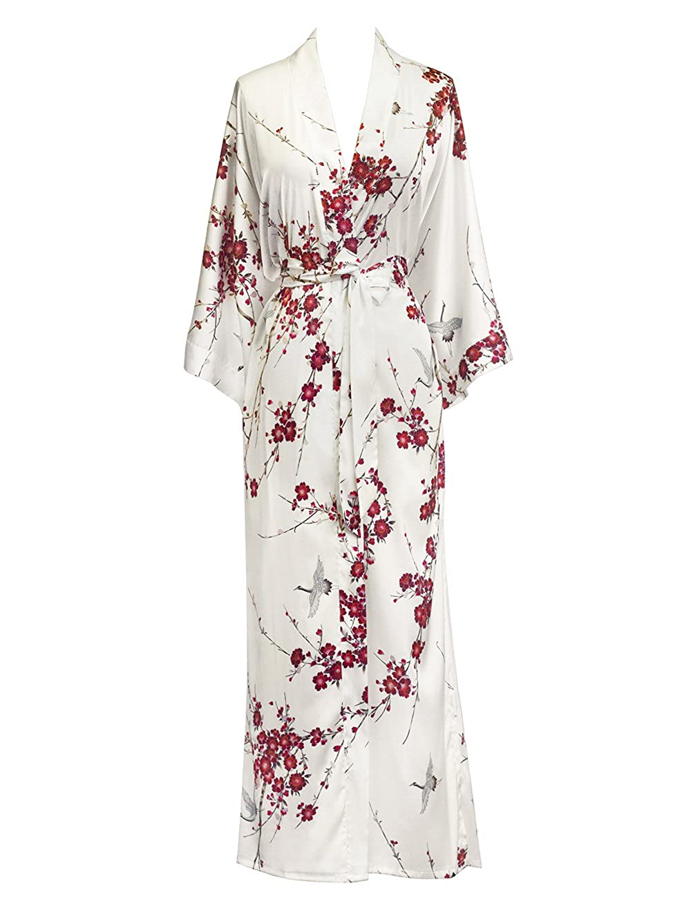 Cherry Blossom & Crane White Old Shanghai Women's Kimono Robe Long  Watercolor Floral