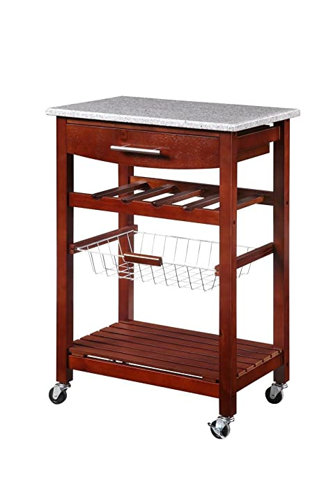 linon kitchen island granite top amazon com   linon kitchen island granite top   bar  u0026 serving carts  rh   amazon com