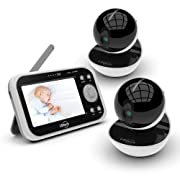 Video Baby Monitor with 2 Digital Cameras,LBtech Wireless Video Monitor,4.3 inches LCD,Automatic Night Vision,Two-WayTalkback,Temperature Detection,Power Saving,Zoom in Lens,Support Multi-Camera