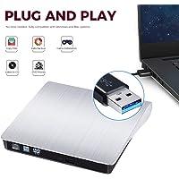 External DVD CD Burner Drive for Laptop USB 3.0 Portable External CD-RW DVD-RW Player Drive Writer Rewriter for iMac/MacBook Air/Pro PC Desktop Windows7/8/10 (Silver)