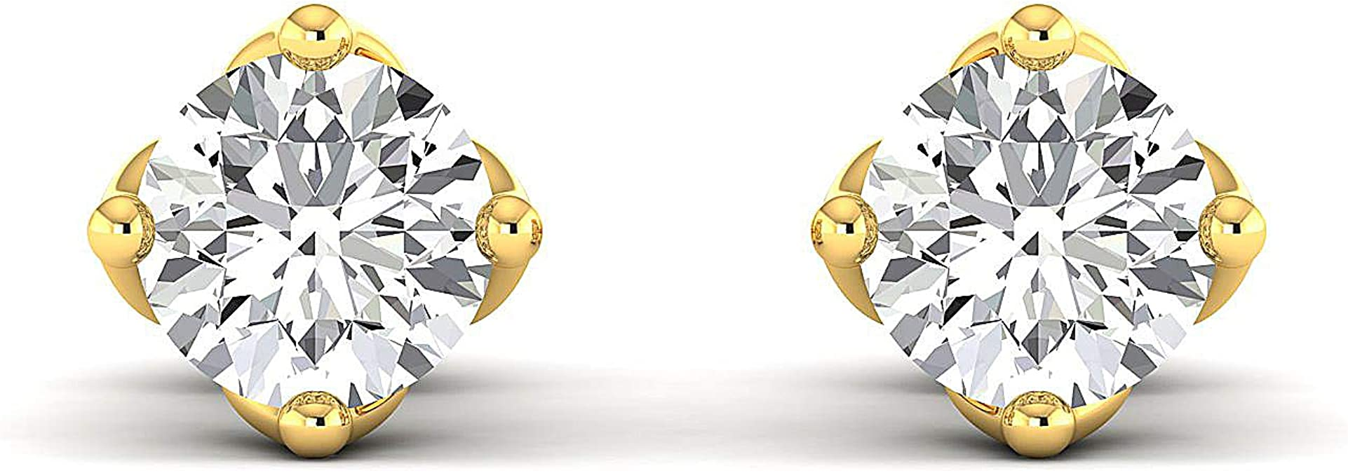 Stud Earrings for Women perfect Jewelry Gifts for Women Teen Girls Earring Studs 0.3 to 4 Carat Moissanite Stud Earrings Round Brilliant / Pure Gold // 925 Sterling Silver GH//VVS