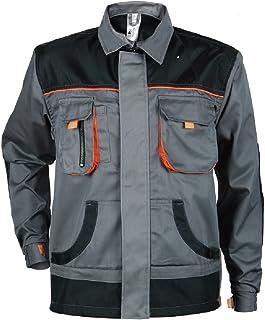 Stenso des-Emerton® - Giacca da Lavoro Multifunzione - vestibilità Slim - Grigio/Nero/Arancione con Gomiti rinforzati