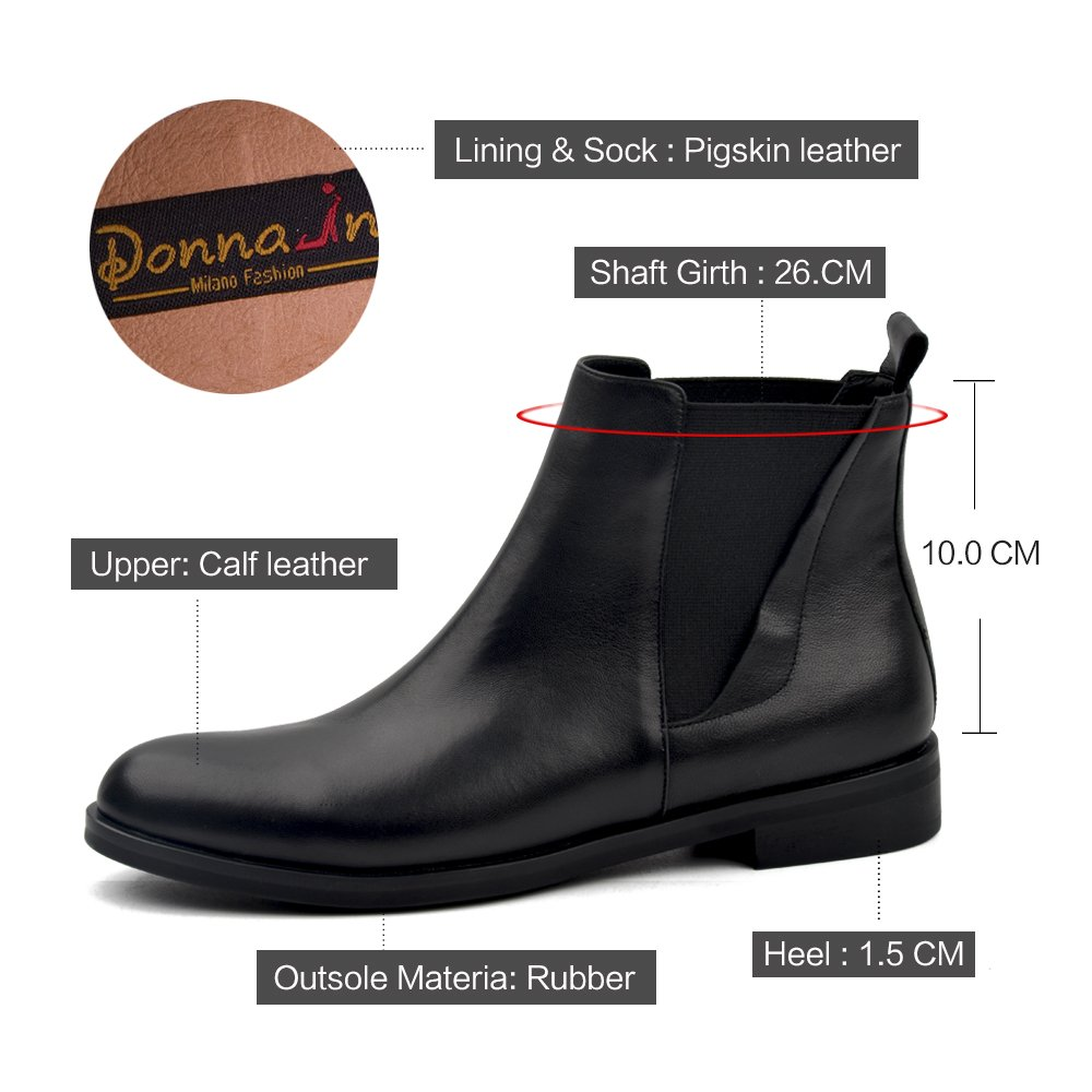 DONNAIN Women Genuine Leather Boots Toe Spring Flat Heel Round Toe Boots Chelsea Shoes Ankle Booties for Women B078TKHM58 5.5 B(M) US|Black db37f1