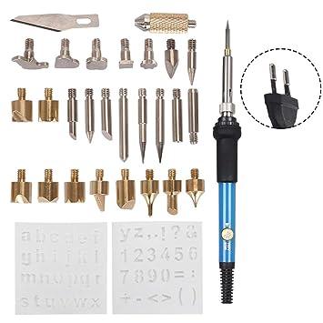 Seasaleshop Kit de pirograbado 28pcs Soldador 60 W pirografía Profesional Sobre Madera Soporte para Corcho, Cuero, Grabado, Escultura Madera: Amazon.es: ...
