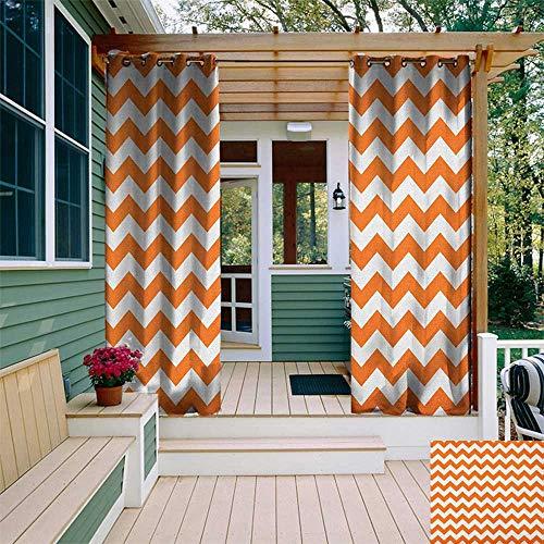 leinuoyi Chevron, Outdoor Curtain Modern, Halloween Pumpkin Color Chevron Traditional Holidays Autumn Season Celebrate, Outdoor Patio Curtains W72 x L108 Inch Orange White -
