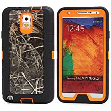 MOONCASE Galaxy Note 3 Case, [Realtree Camo Series] 3 Layers Heavy Duty Defender Hybrid Soft TPU +PC Bumper Triple Shockproof Drop Resistance Protective Case Cover for Samsung Galaxy Note 3 N9000 -Orange Grass