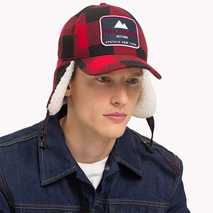 371899a3af8 Tommy Hilfiger Hats Badger Trapper Baseball Cap with Earflaps - Red-Black  Adjustable  Amazon.co.uk  Clothing