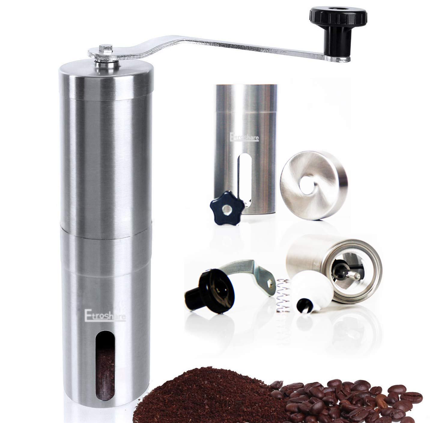 KeeTrnLiv Manual Coffee Grinder Conical Burr Spice Herb Pepper Mill Stainless Steel Grinder Without Noise