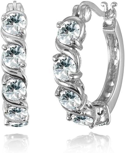Simple Aquamarine Multi Color Gemstone Stud Hoop Dangle Earring Gifts 8C