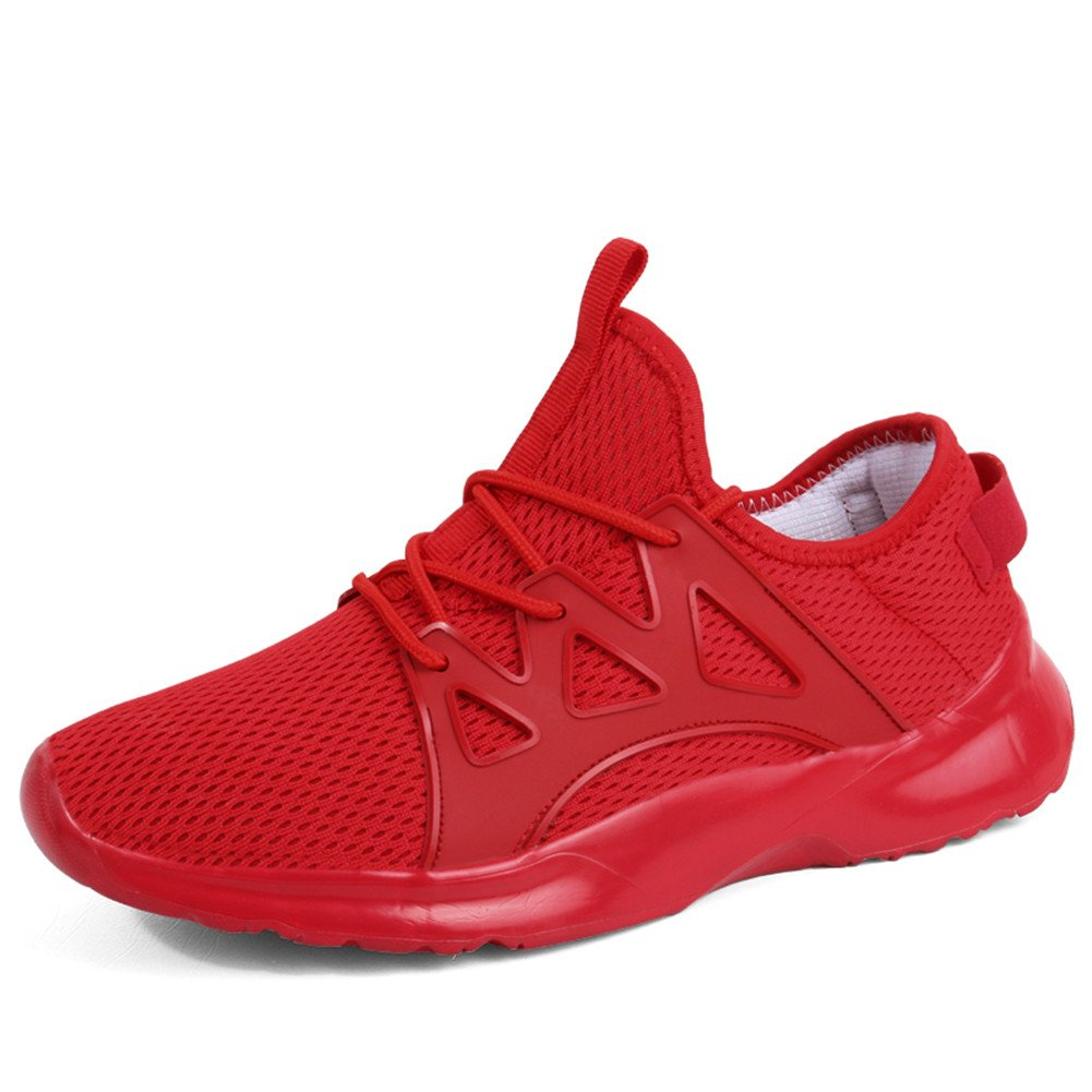 TALLA 41 EU. Hombre Zapatillas Deporte Zapatos para Correr Athletic Cordones Running Sports Sneakers Negro Blanco Rojo 38-46 EU