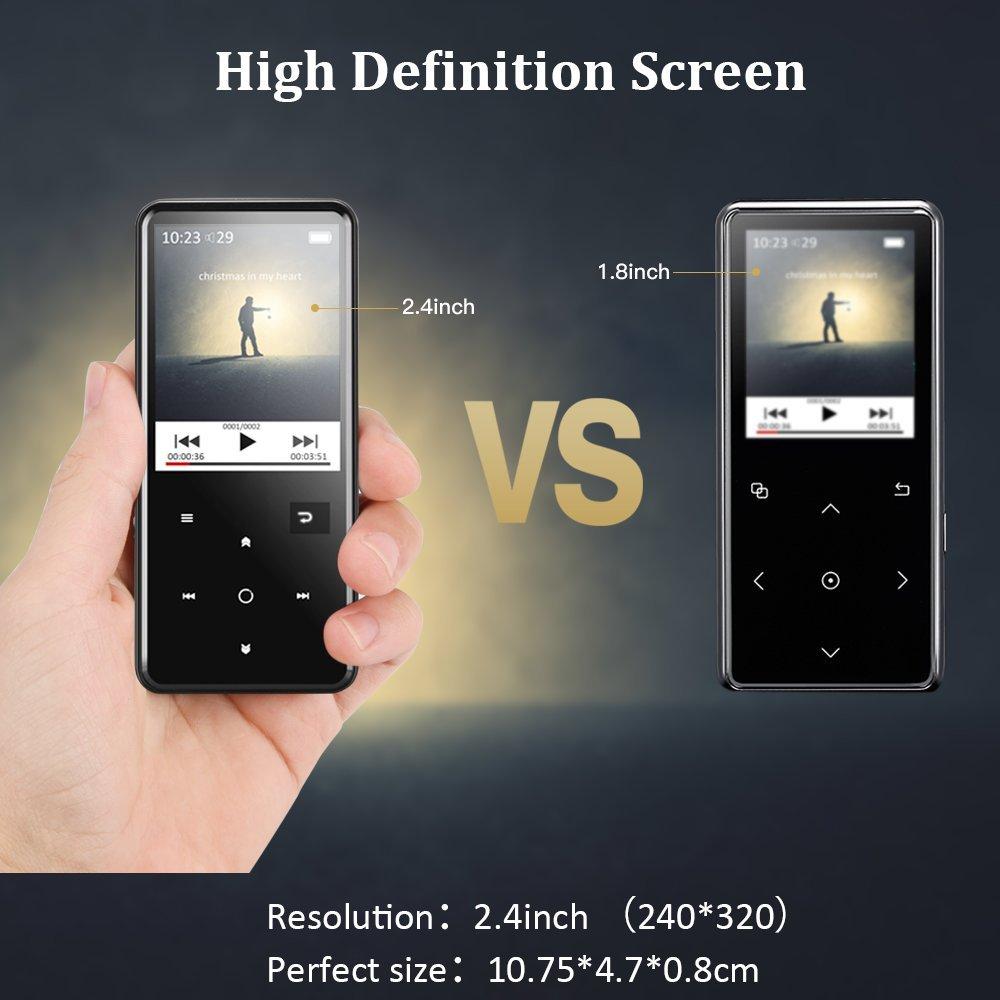 AGPTEK Reproductor Mp3 Bluetooth 8GB, HD Pantalla 2.4 a Colores con Botones Táctiles, Mp3 Player de Metalico con Radio FM Grabador de Voz, Ampliable hasta ...
