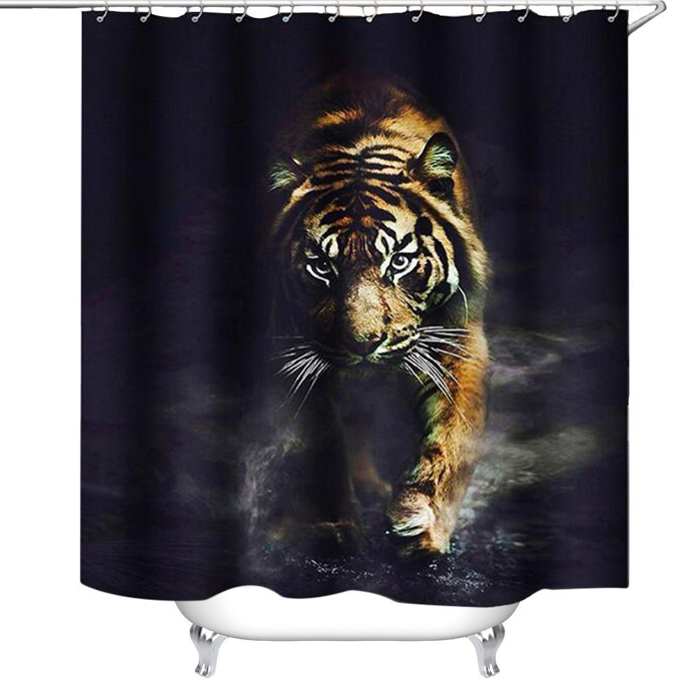 Wildlife Animal Nature Decor Tiger Bathroom Decor Polyester Fabric Shower Curtain, Plastic Shower Hooks Include 72X80